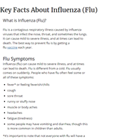Key Facts About Influenza (Flu) and Flu Vaccine